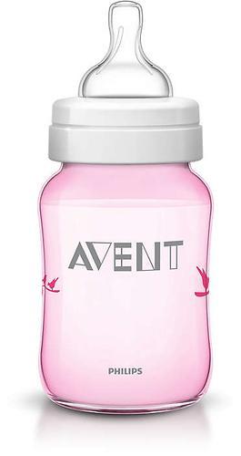 Бутылочка Avent Classic 260 мл 1мес+ розовая с птицами (10)