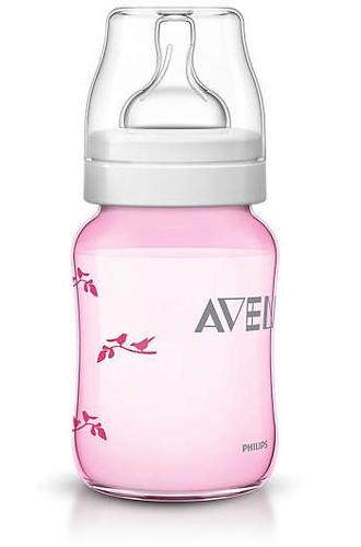 Бутылочка Avent Classic 260 мл 1мес+ розовая с птицами (11)