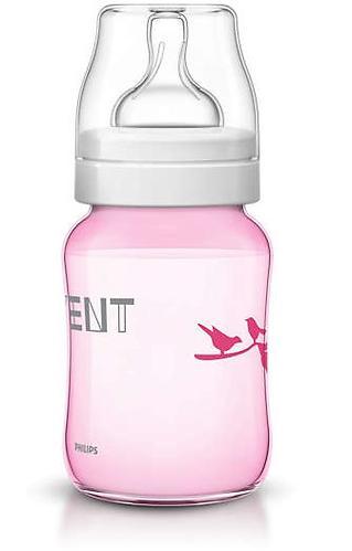 Бутылочка Avent Classic 260 мл 1мес+ розовая с птицами (12)