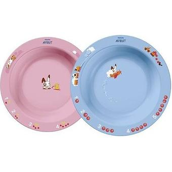 Тарелка глубокая Avent 450 мл 12м+ голубой или розововый - Minim