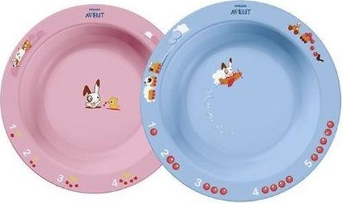 Тарелка глубокая Avent 450 мл 12м+ голубой или розововый (4)