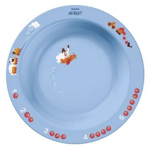 Тарелка глубокая Avent 450 мл 12м+ голубой или розововый (6)