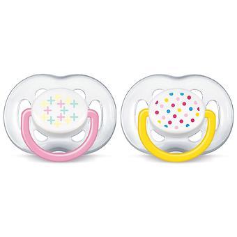 Пустышка Avent силикон FreeFlow серия Дизайн 6-18 мес (2 шт/уп) для девочек - Minim