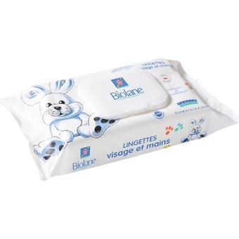 Салфетки BIOLANE очищающие и увлажняющие, в мягкой упаковке, для рук и лица, 64 шт - Minim