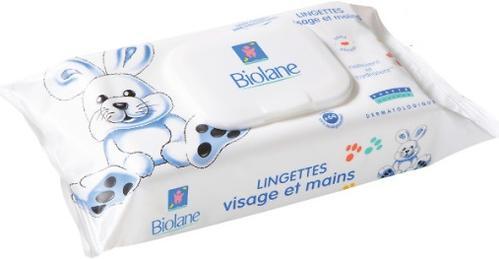 Салфетки BIOLANE очищающие и увлажняющие, в мягкой упаковке, для рук и лица, 64 шт (1)