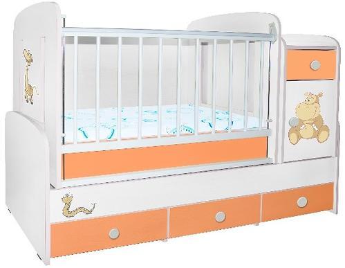 Кроватка-трансформер Glamvers Comfort цветная оранжевый+белый бегемотик (1)