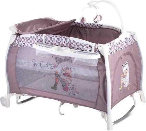 Кровать-манеж Lorelli I LOUNGE 2 Rocker Biege Fashion Girl 1713 (1)