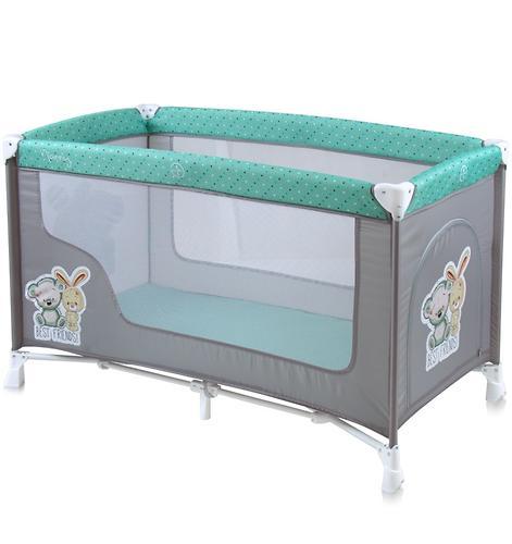 Кровать-манеж Lorelli Nanny 1 Green-Grey Friends 1704 (1)