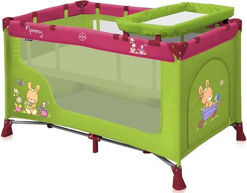 Кровать-манеж Bertoni Nanny 2 Green-Pink Bunnies (3)