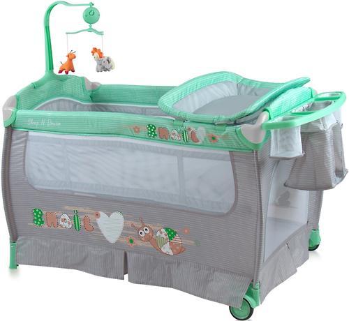 Кровать-манеж Bertoni Sleep N Dream 2 Layers Plus Green Grey Snail 1705 (1)
