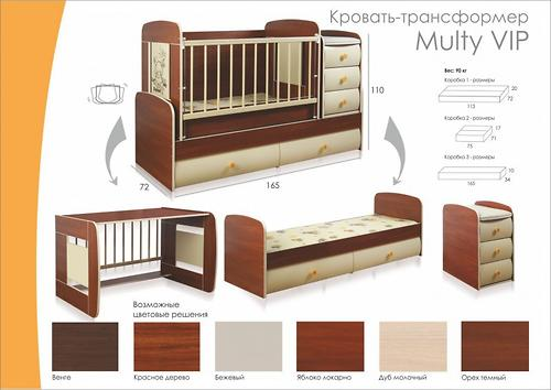 Кроватка-трансформер Glamvers Multy Vip Яблоня-локарно (10)