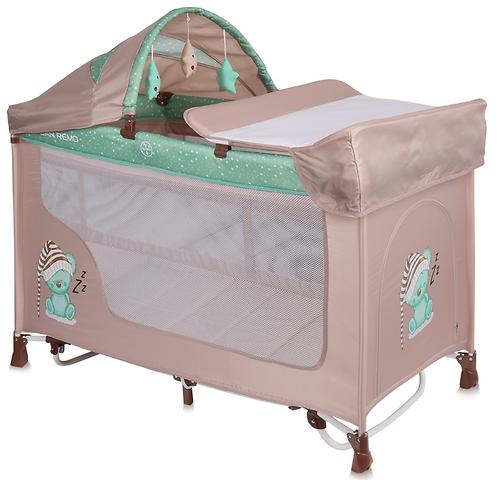 Кровать-манеж Lorelli San Remo 2 Plus Rocker Beige-Green Sleeping Bear 1802 (3)