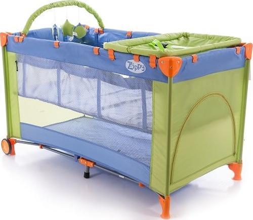 Кровать-манеж Bertoni Zippy 2 Plus Rocker Фиолетово-зеленый 1409 (1)