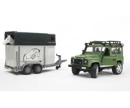 Bruder внедорожник с прицепом-коневозкой и лошадью Land Rover Defender (5)