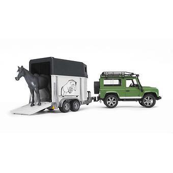 Bruder внедорожник с прицепом-коневозкой и лошадью Land Rover Defender - Minim