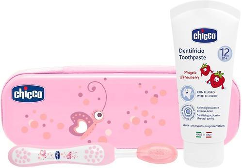 Набор Chicco для ухода за полостью рта Зубная щетка и Паста Розовая 12+ (1)