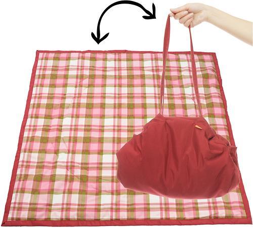 Коврик трансформер Чудо-Чадо + переносной коврик-сумка бордовый/клетка (3)