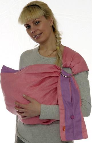 Слинг Чудо-Чадо с кольцами Лен Комби розовый размер S (4)