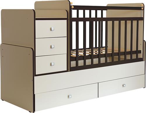 Кроватка детская ФЕЯ 1100 Беж-Кромка венге (4)