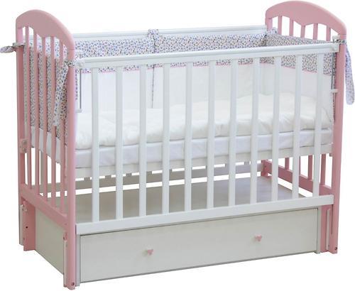 Кроватка детская ФЕЯ 328 Белый-Мята (4)