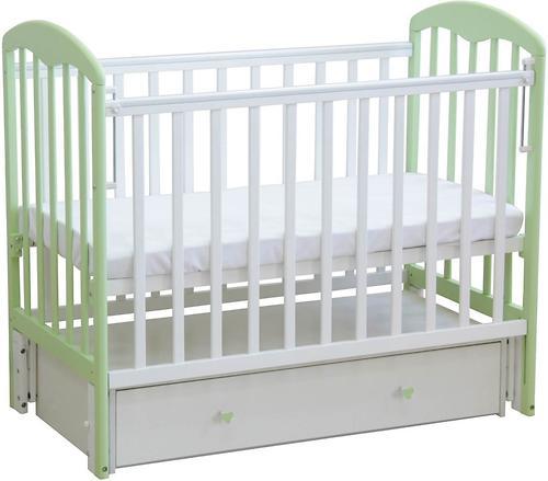 Кроватка детская ФЕЯ 328 Белый-Мята (3)