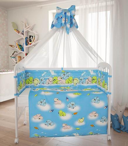 Комплект в кроватку Фея Мишки, 7 предметов, Голубой (9)
