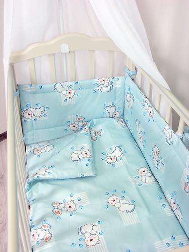 Комплект в кроватку Фея Мишки, 7 предметов, Голубой (10)