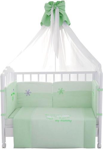 Комплект в кроватку Fairy Белые кудряшки, 7 предметов, Зеленый (1)