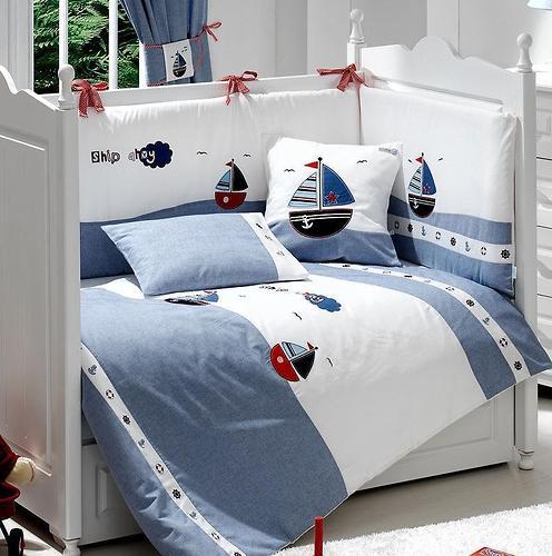 Комплект постельного белья FunnaBaby Marine Blue 5 пр. с балдахином и карманом-накопителем (5)