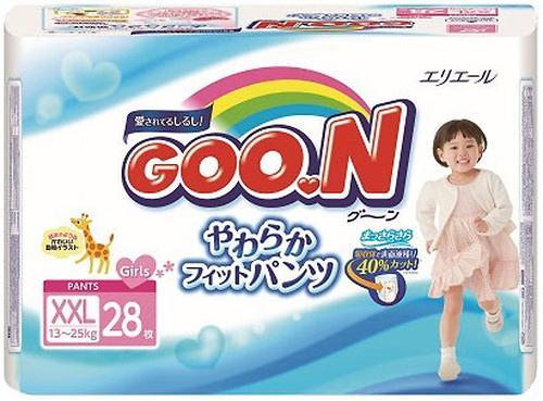 Уценка! Подгузники-трусики Goon для девочек BigBig XXL 13-25кг 28шт (3)