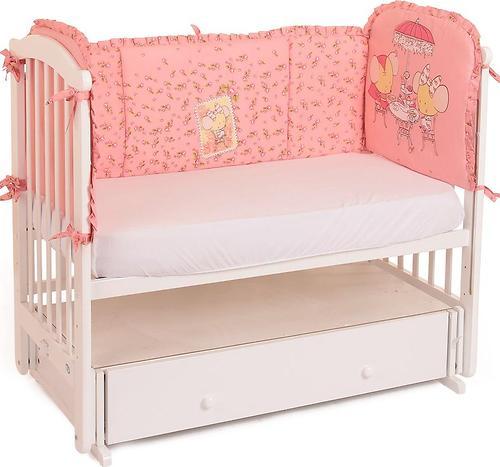 Уценка! Бортик в кроватку Leader Kids Чаепитие розовый (1)