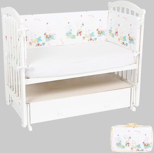 Бортик Leader Kids в кроватку Зайкины игрушки Белый бязь (1)