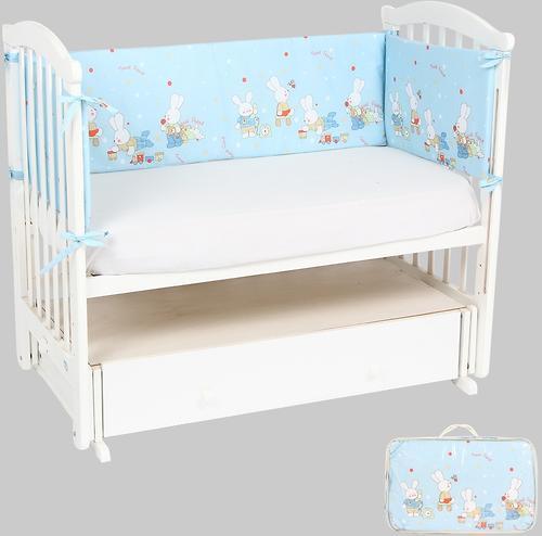 Бортик Leader Kids в кроватку Зайкины игрушки Голубой бязь (1)