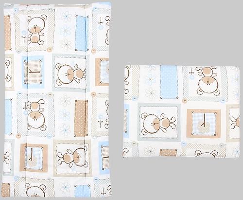 Комплект в коляску Leader Kids матрасик+подушка Мишки в квадратах Голубой бязь (1)