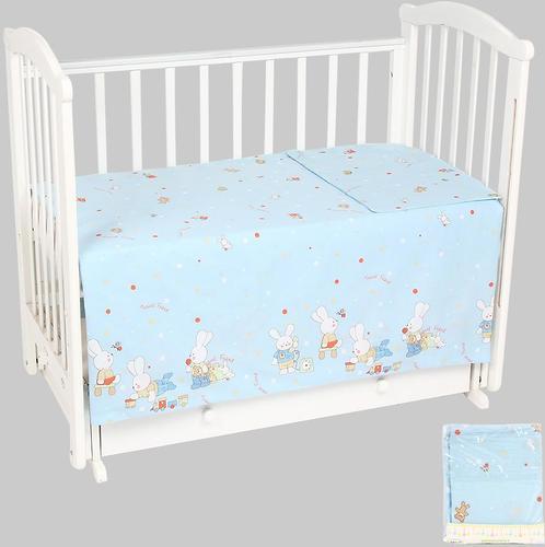 Комплект постельного белья в кроватку Leader Kids Зайкины игрушки Голубой бязь (1)