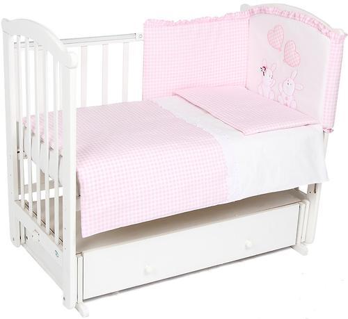 Комплект в кроватку Leader Kids Зайчата 7 предметов, розовый (3)