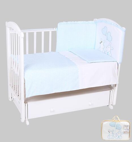 Комплект в кроватку Leader Kids Зайчата 7 предметов, голубой (4)