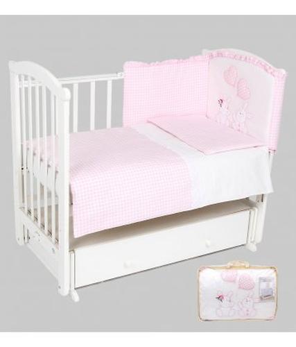 Комплект в кроватку Leader Kids Зайчата 7 предметов, розовый (4)