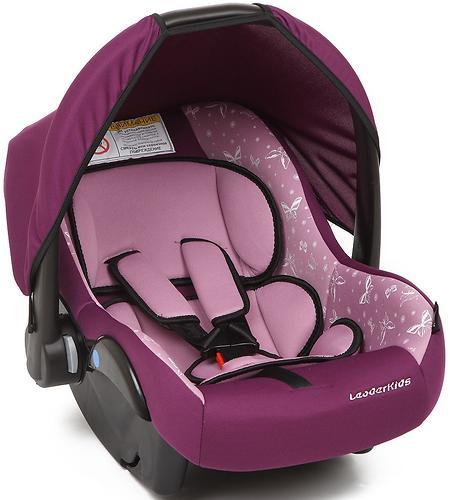 Автокресло-переноска Leader Kids Voyage фиолетовый+розовый принт (1)