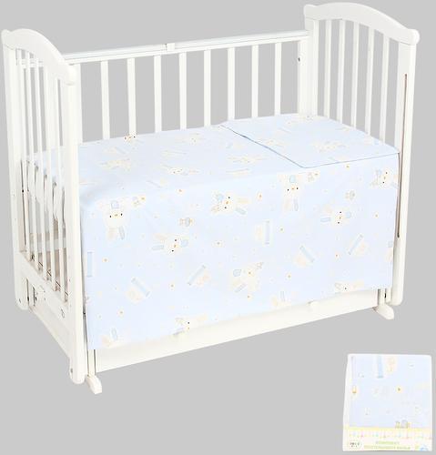 Комплект постельного белья в кроватку Leader Kids Кролик с мишкой Голубой бязь (1)