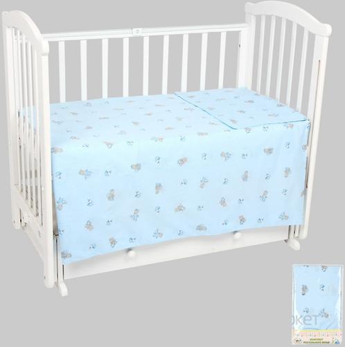 Комплект постельного белья в кроватку Leader Kids 3 предмета Мой мишка Голубой (1)