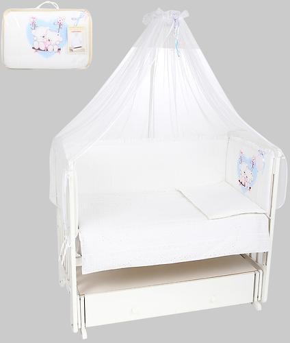 Комплект в кроватку Leader Kids 7 предметов Мишка на качелях Белый бязь (1)