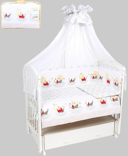 Комплект в кроватку Leader Kids 7 предметов Мишка в кораблике Серый бязь (1)