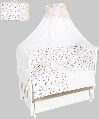 Комплект в кроватку Leader Kids 7 предметов Маленький зоопарк Белый бязь (1)