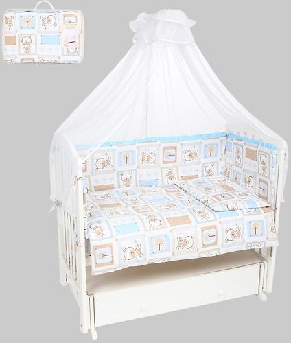 Комплект в кроватку Leader Kids 7 предметов Мишки в квадратах Голубой бязь (1)