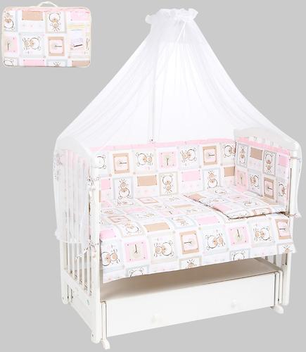 Комплект в кроватку Leader Kids 7 предметов Мишки в квадратах Розовый бязь (1)