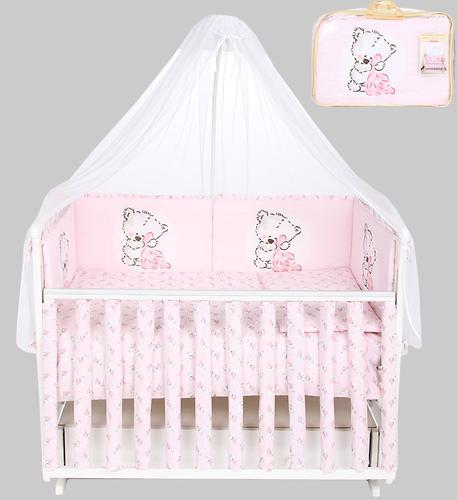 Комплект в кроватку Leader Kids 7 предметов Мишутки Розовый (1)