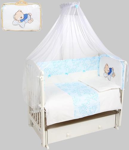 Комплект в кроватку Leader Kids Мишка на подушке 7 предметов Голубой (1)