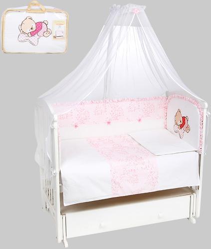 Комплект в кроватку Leader Kids Мишка на подушке 7 предметов Розовый (1)