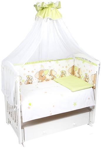 Комплект в кроватку Leader Kids Собачки 7 предметов Салатовый (1)